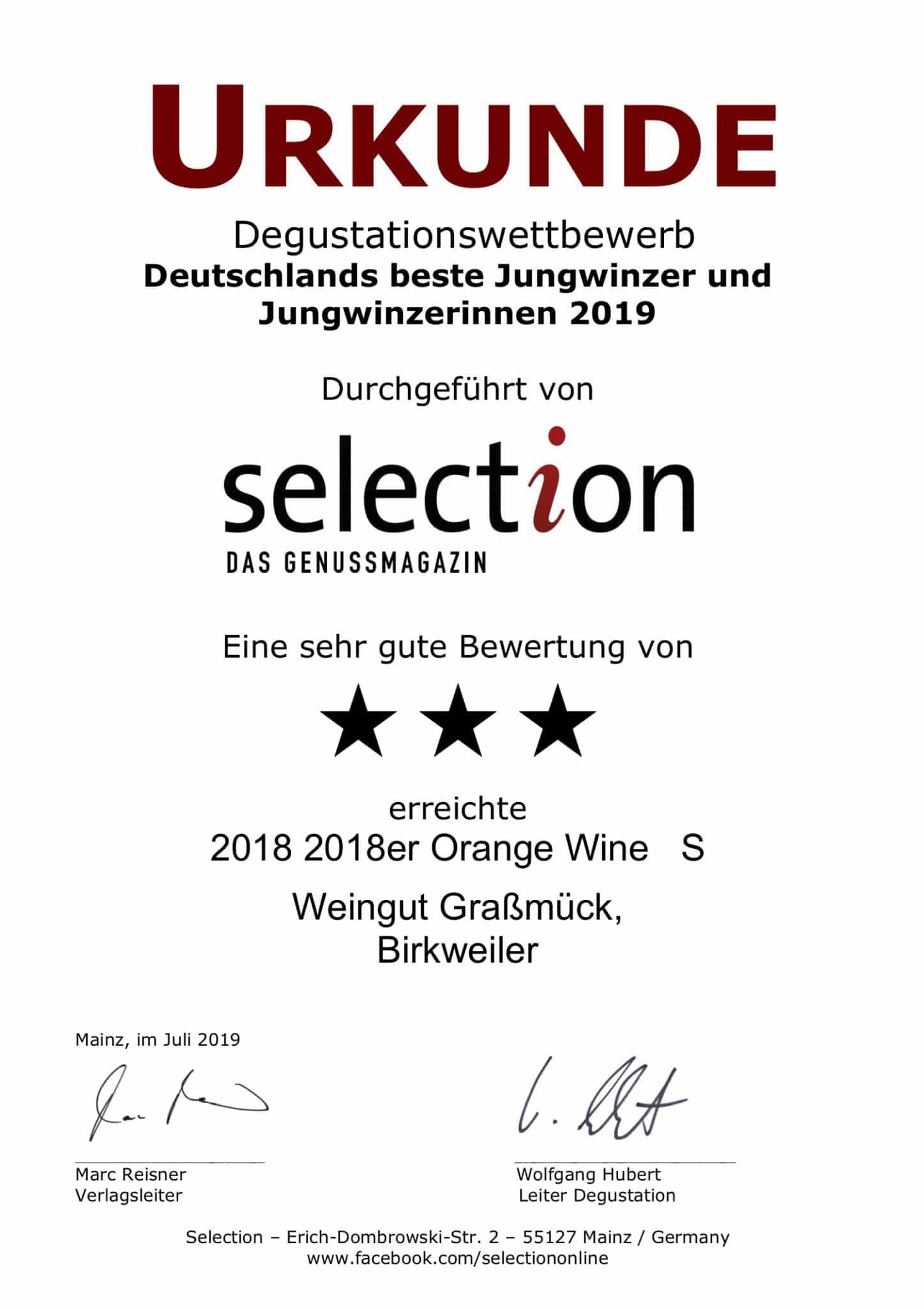 Urkunde von selection für Weingut Graßmück