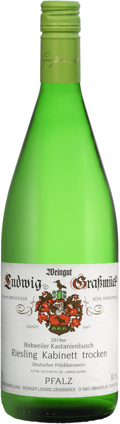 Weingut Ludwig Graßmück, Simon Graßmück, Birkweiler Kastanienbusch Riesling Kabinett trocken 2019
